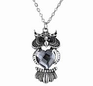 Korean Fashion Fashion Owl Pendant Crystal Necklace
