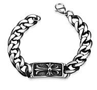 Maya Generous Personality Four Sharp Corner Billow Men Stainless Steel Chain & Link Bracelets(Black)(1Pcs)