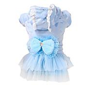 Dog Coat / Dress / Clothes/Clothing Blue / Pink Winter / Spring/Fall Bowknot Fashion / Keep Warm