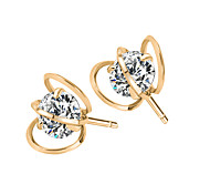 Allergy Free Gold Plated Women Stud Earrings European Style Luxury Zircon Insert Hollow Earrings