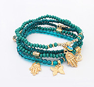 Women European Style Fashion Butterfly Anchor Palm Eye Pendant Beaded Charm Bracelets
