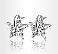 Allergy Free Silver Plated Women Stud Earrings European Style Luxury Zircon Insert Clean Star Earrings