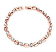 Chaînes & Bracelets 1pc,Blanc / Or Rose Bracelet Alliage / Strass / Platiné / Plaqué Or Rose Bijoux Femme