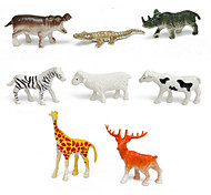 8pcs Animal Action Figures Set Modeling Giraffe / Deer / Zebra / Cow / Sheep / Rhino / Hippo / Crocodile