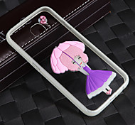 Lightning Glow in Dark With the Rope Short Hair Girl Acrylic Back+TPU Frame Back Cover for Samsung Galaxy S6