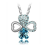 Women Necklace ELegant Crystal Shining Clover Pendant Necklace