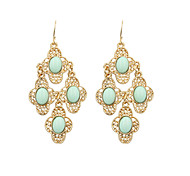 Fashion Women Trendy Resin Stone Set Cut Out Drop Earrings