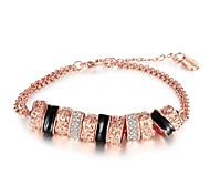 Exquisite Fashion Women's Multiple Concentric Circles Diamante Rose Gold Plated Chain & Link Bracelet(Rose Gold)(1Pc)