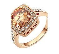HKTC Valentine's Day Gift 18k Rose Gold Plated Champagne Crystal Cz Diamond Party Finger RingImitation Diamond Birthstone