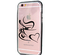 Heart Shape With Coffee Cup Pattern LED Flicker Back Cover+Bumper Cover for iPhone 6/6s