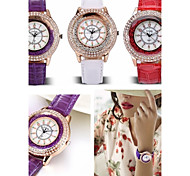 GoGoey®Women's Dress Watch Fashion Full Rhinestone &Balls Dial Wrist Watch Candy Color PU Strap Quartz Watches