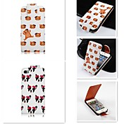 Bear  Patten Up-down Turn Over PU Leather Full Body Case for iPhone 4/4S