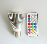 1 pcs SchöneColors E26/E27 9W A60 Dimmable/Remote-Controlled/Decorative 2 Million Colors LED RGB Globe Bulbs AC100-240V
