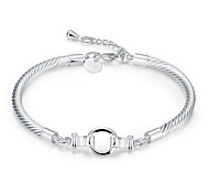 Lureme® Fashion Simple Style Silver Plated Twisted Chain Bracelets for Women