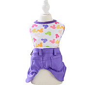 Dog Clothes/Jumpsuit Green / Yellow / Purple Dog Clothes Spring/Fall Cartoon Fashion