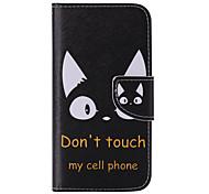 chat noir peint pu étui de téléphone pour galaxie s7 / s7edge