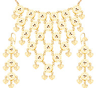 Exaggerated Heart Shape Jewelry Set New 18K Gold Plated Trendy Party Long Earrings Charm Necklace Set For Women S20153