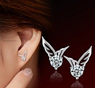 925 Silver Sterling Silver Jewelry Earrings Sample Wing Zircon Stud Earring 1Pair