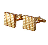 Jewelry Brass Material Cufflink, Golden Lattice Grid Pattern