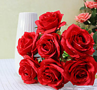 High Quality 7 Heagh Dew Roses Paired Flowers  Silk Flower Artificial Flowers for home Decoration Flower Kit (Red)