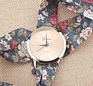 Girls' Colored Dots Floral Fabric Strap Watch Summer Dress Watch Flower Cloth Bracelet Platinum Wrist Watch