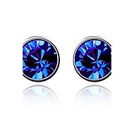 Luxury Stud Earrings for Women Vintage Crystal Stud Earrings Fashion Jewelry Accessories Silver Plated