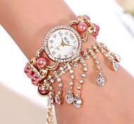 YILISHA ® Women's Shiny Bracelet Watch Girl Bead Strap Watch Round Dial Quartz Dress Watches Rhinestone Pendant Jewelry Cool Watches Unique Watches