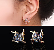 Women's European Style New Fashion Square Zircon Stud Earrings