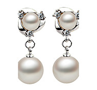2016 Korean Women 925 Silver Sterling Silver Jewelry Imitation Pearl Earrings Drop Earrings 1Pair