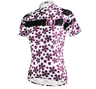 ilpaladinoSport Women Short Sleeve Cycling Jersey New Style Distinctive  DX608 Purple flower  100% Polyester