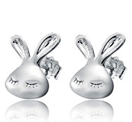 Lureme®  Korean Fashion 925  Sterling Silver Little White Rabbit Earrings