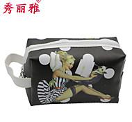 Makeup Storage Cosmetic Bag / Makeup Storage PU Cartoon Ellipse 19x11.5x10cm Black / Red / White