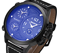 SKONE ® Men's Sports Watches Fashion PU Leather Strap Wrist Watch Big Round Dial Quartz Watch Chronograph Clocks Cool Watch Unique Watch