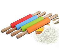 10'' Silicone Rolling Pin Dia.5.3cm x L 48cm Food Safe Silicone Material and Wooden Handle Random Colors
