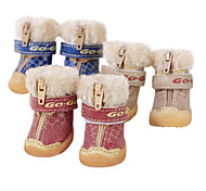 Dog Shoes & Boots Fashion Red / Blue / Brown Winter PU Leather