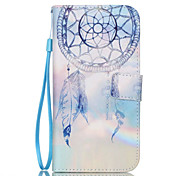 Blue Campanula Pattern PU Material Card Lanyard Case for Samsung Galaxy S7/S7Edge