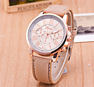 Women's European Style Fashion Personality Leather Roman Numerals Wrist Watch
