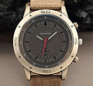MINGEN New Fashion Military Army Style Casual large Dial Khaki Fabric Band Quartz Sport Men Watch
