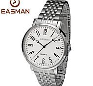 EASMAN Mens Watch Fashion Casual Steel Band Silver Wrist Watch Men Brands Quartz Watches for Men Man Gift