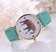 Lady's Elephant Case Leather Band Analog Quartz Fashion Watch Jewelry Cool Watches Unique Watches