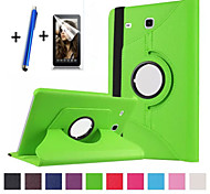 """New 360 Rotating PU Leather Stand Case Cover For Samsung Galaxy Tab E 9.6"""" SM-T560 Tablet+Stylus+Film"""