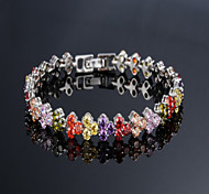 Elegant AAA Zircon Bracelet for Wedding Party (Silver/Multicolor)Imitation Diamond Birthstone