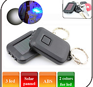 Solar Keyring Flashlights/2 Mode Mini keychain Light / Counterfeit Detector / Emergency / 3 Led/ Solar pannel