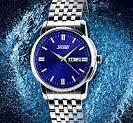 SKMEI Men's Japan PC Stainless Steel  Band Quartz Analog Calendar 30M Water Resistant Dress Watch