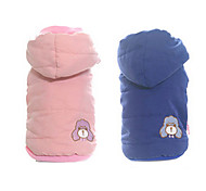 Dog Coat Blue / Pink Dog Clothes Winter Cartoon Keep Warm / Fashion