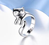 Lureme®  Korean Fashion 925  Sterling Silver  Lovely Panda Cuff Rings