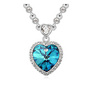 Austria Crystal Heart Pendant Necklace,Fine Jewelry