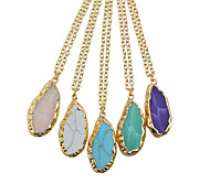 New Simple Style Colored Stone Pendant Necklace for Women
