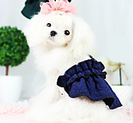 Dog Dress Green / Blue Winter Solid Fashion