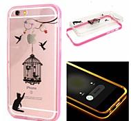el gato y el birdcage patrón transparente de TPU + PC 2 en 1 con efecto ic llevado cubierta trasera para iPhone 6 / 6s